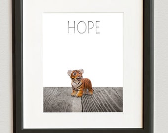 Nursery Decor, Baby animal art, Baby room ideas, Safari animal wall art, Baby tiger Hope Photo Print