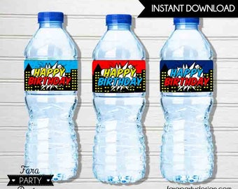SuperHero Birthday Party Printable Water Bottle Labels by Fara Party Design | RETRO Style Superhero | Comics
