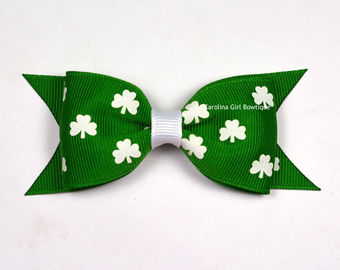 "St. Patricks Day Tuxedo Bow ~ 3.5"" Hairbow ~ Small Hair Bow ~ Girls Barrette ~ Toddler Bow ~ Baby Hair Bow ~ Hair Clip ~ Girls Hair Bow"