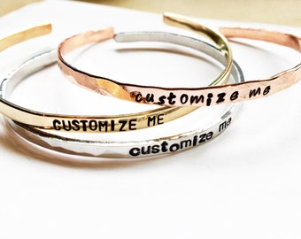Custom Personalized Cuff Bracelet SKINNY - Personalized Jewelry - Valentines Gift - Best Friend Gift - Hand Stamped Bracelet - Gift For Her