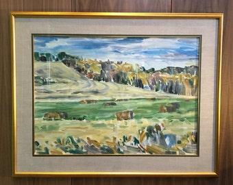 "Original Oil Painting ""Hay Bales by the Trees"" 1993 by Darlene Hay Canadian Artist"