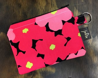 Keychain wallet, keychain Card Holder, Floral Print, Coin Purse, mothers day gift, best friend gift, gift for her