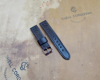 Shell Cordovan leather Racing watch band width 20/18 mm
