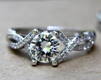 CUSTOM Made - Diamond Engagement Ring and Wedding band set - Round - Pave - Antique Style - Weddings - Luxury - Bp015