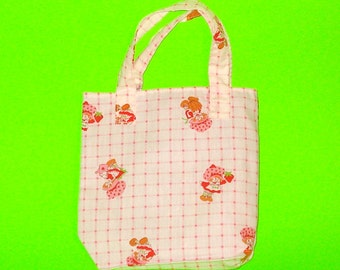 Strawberry Shortcake Vintage Fabric White Plaid Picnic Fun Classic Handbag Printed Purse Tote