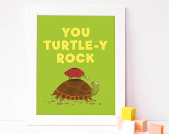 inspirational kids poster - inspirational kids quote - turtle print - turtle art - green nursery decor - cute nursery art - you totally rock