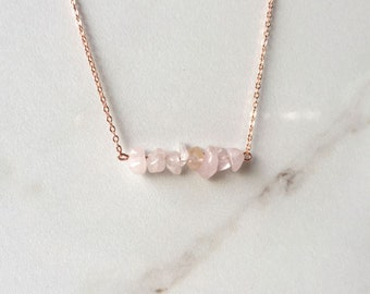 Rose Gold Rose Quartz Crystal Necklace - Bar Necklace - Raw Rose Quartz Necklace - Raw Crystal Jewelry - Rose Quartz Chip Beads