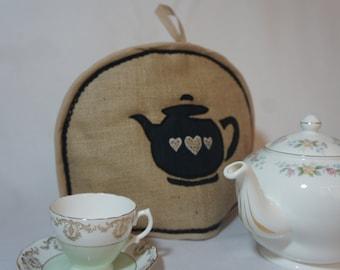 Hessian teapot & teacup tea cosy