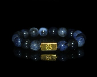 Men's Sodalite Bracelet, Bead Bracelets Men, Sodalite and Gold Bead Bracelet, Bracelet, Mens Bracelet, Mans Bracelet, Bracelets for Men