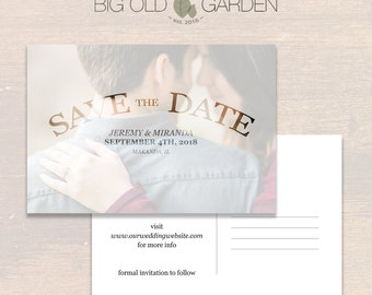 Jeremy & Miranda - Customizable Printable Postcard Save The Date Template (PSD) - 4x6 or 5x7