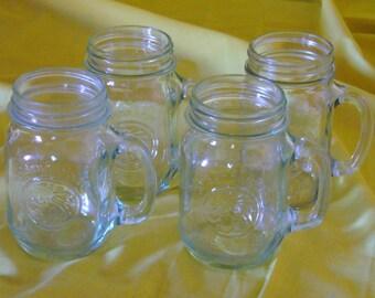 Farmhouse Pint Drinking Glasses, Set of 4 Golden Harvest Drinking Jars