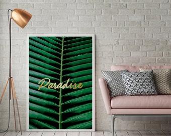 Paradise Print, Paradise Poster, Minimalist Art, Inspirational Art, Home Decor, Palm Leaf, Sea Print, Living Room Decor, Wall Art, 5x7 print