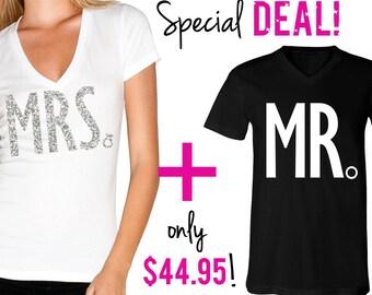 MRS Bride Shirt + MR Groom Shirt Special Deal, Bride Vneck, Wedding shirt, groom, Groom shirt, wedding