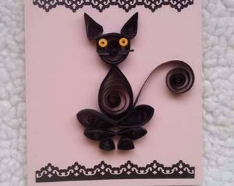 Black Cat Lover Quilled Greeting Card