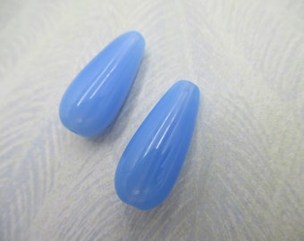 Glass Teardrop Beads - Opal Pear Beads - Sapphire Blue Opal Beads - 22X9mm - Made in Germany - Qty 4 *NEW ITEM*