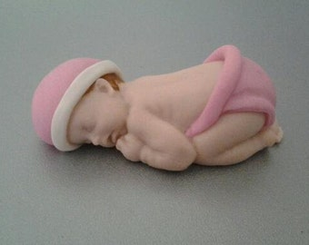 Fondant edible baby girl cake topper