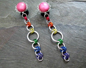 Dangle Plugs - 10g - 8g - 6g- 4g - 2g - 0g - Rainbow Gauges - Pride Plugs - Rainbow Jewelry - Rainbow Plugs - Plug Earrings