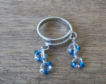 SALE 20% OFF!!  Adjustable Ring with Czech Glass Blue and Silver Dangles