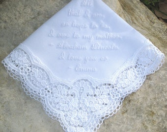 MESSAGE HANDKERCHIEF EMBROIDERED with up to 25 words, all around lace border, from Germany, 2 fonts, Mother of Bride/Groom, Gift Box, Unique
