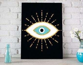 Evil Eye Gold Foil Spiritual Art Print, Inspirational Print, Digital Print, Instant Download, Geometric Bohemian Art, Tribal Print- (D085)