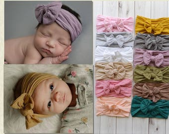 PICK ANY Nylon Baby Headbands, Stretch soft nylon headwraps, baby headband, newborn headbands, infant headband, CLASSIC knot nylon head wrap