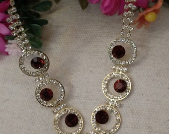 Topaz Rhinestone Set, Round Rhinestones, Romantic Set, Open Circle Accent Pieces, Post Earring Dangles, Formal Accessory