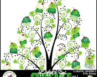 INSTANT DOWNLOAD St Patricks Day Green Cupcake French Swirl Tree set 1 with 9 gorgeous swirly trees green cupcakes shamrock charms pet tags