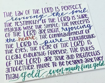 Psalm 19 in Sharpie on 8x10 Flat Canvas//Home Decor//Scripture Art//Bible verse//The Word of the Lord//Gold//Pure