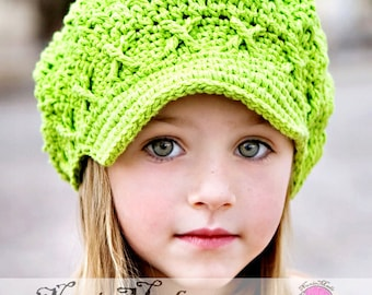 Apple Green Newsboy Hat, 2T-4T Toddler Hat, Apple Cap Hat, Childrens Hat, Crochet Hat, Newsgirl Hat, Girls Winter Hat, Green Hat, Girl Hat