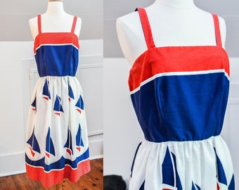 1970s 80s Sailor Dress Vintage Retro Nautical Jenni Sailboats Classic Pinup Boat Summer