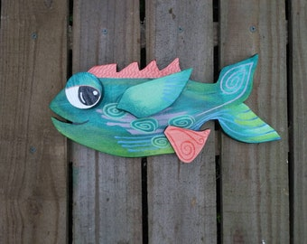 Patio Deck Decor, HAND PAINTED wooden FISH, Colorful & Quirky!