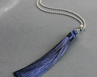 Blue Agate Tassel Necklace Silver Blue Tassel Necklace Blue Tassel Pendant Long Tassel Pendant Boho Necklace Boho Jewelry Fashion Tassel
