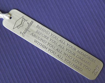 Graduation Bookmark, Engraved Aluminum Bookmark, Inspirational Quote, Personalized Bookmark, High School/College Graduation Gift, Graduate