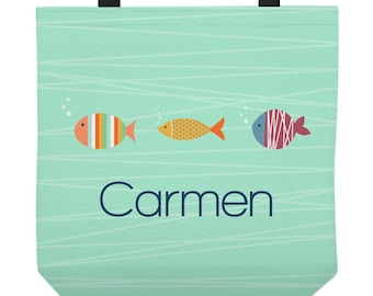 Personalized Tote Bag for Kids - Fish Bag for Children - Three Sizes to Choose From - Great for library, lessons, and more!