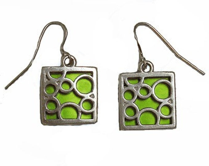 small square Lime bubble earrings