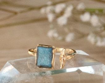 SALE Rainbow Labradorite * Gold Ring * Gemstone * Adjustable * Gold Vermeil * Statement *Bridal *Wedding * Natural * Thin *Handmade BJR007