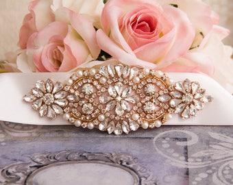 Vintage Diamond Shape Rhinestone Bridal Sash/ Embellish Sash / Wedding Sash/ Bridal Belt/ Crystal Wedding sash