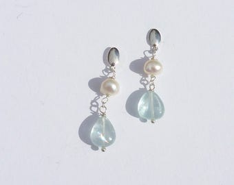 AQUAMARINE Freshwater Pearl EARRINGS Silver 925 french jewelry jewelry wedding jewelry ceremony gift mothers day