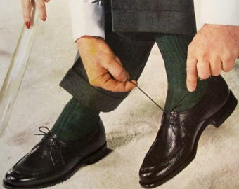 1955 Roblee Lo-Trim Shoes Ad - Man Tying His Shoes - Retro 1950s Men's Apparel Ad - Brown Shoe Company Ads