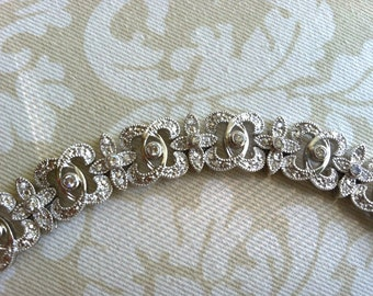 Gatsby House Art Deco Rhinestone silver bracelet