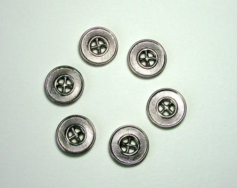 Set of 6 metal, round buttons, 19 mm, silver gray, 4 holes.