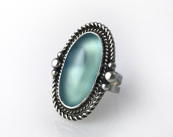 Oasis Aqua Chalcedony Ring in Sterling Silver, Oasis Ring, Aqua Chalcedony Ring, Blue Chalcedony Ring