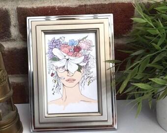 Flower girl print // Fashion illustration print // postcard print // mini print// fashion wall art// flower crown// art print // A6 print