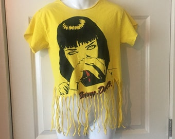 Pulp fiction fringed tee