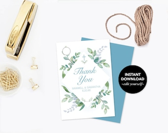 THANK YOU TAGS, Greenery First Communion, Gift Tags, Baptism Favors, Instant Download, Editable Template Favor Tags, Leaf, Wedding Favors