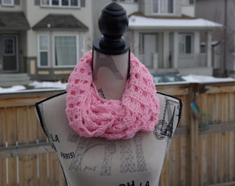 Pretty and Soft Pink Crochet Infinity Scarf