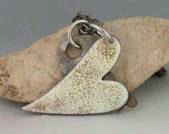 Enameled Heart Pendant, Torch Fired, Vintage Key, Steampunk Jewelry