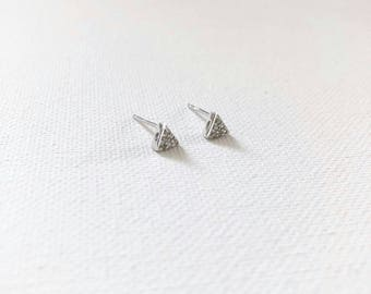 Tiny Triangle Sterling Silver Dainty Earrings