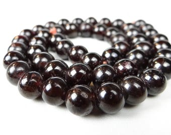 Crimson Red garnet smooth round beads/9mm/8.5 inch strand