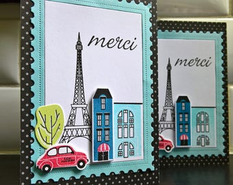 Merci Card, Paris Thank You Card, Eiffel Tower, Merci Thank You Note, French Greeting Card, Gift for Traveler